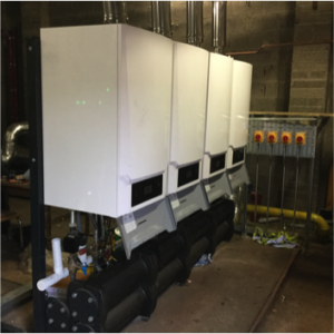 4 boiler cascade rated at 600kW with a compact footprint